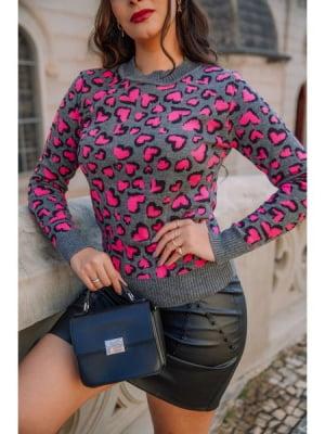 Blusa Heart Love Grafite e Neon Tricot